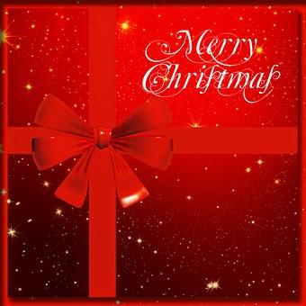 Gift, Loop, Christmas, Red, White, Snow, Star, Light