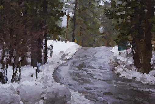 Snow, Road, Forest, Wet, Impressionist, Painting