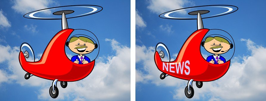 Air, Aviation, Cartoon, Clouds, Fly, Helicopter, Human