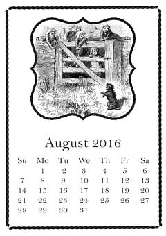 August, 2016, Calendar, Summer, Dog, Children, Fence