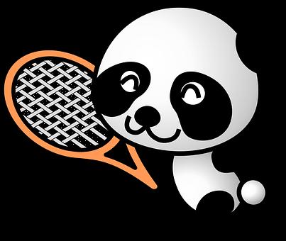 Panda, Sportive, Animal, Sports, Tennis, Racquet