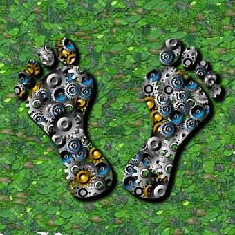 Ecology, Green, Foliage, Gears, Footprints, Alternative