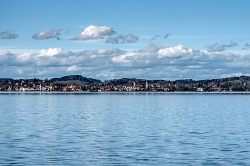 Lake Constance, Lindau, Bank, Waters, Landscape, Sky