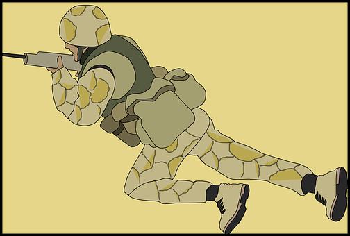 Soldier, Camouflage, Crawling, Military, Army, Gun