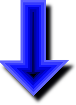 Arrows, Blue, Down, Pointing, Direction, Pointers