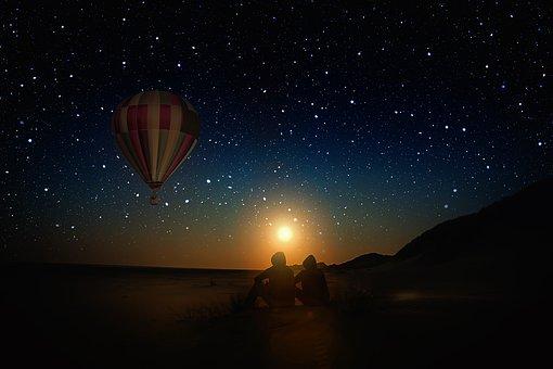 Hot Air Balloon, Sun, Sunset, Personal, Sit, Night