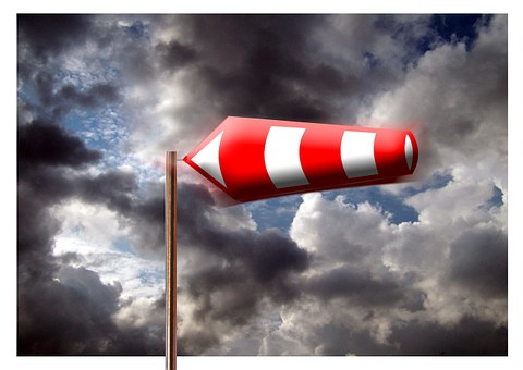 Wind Sock, Clouds, Forward, Traffic Sign
