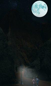 Moonlight, Moon, Fantasy, Dark, Atmosphere, Nature