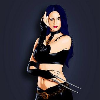 Model, Girl, Fighter, Warrior, Blades