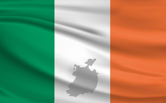 Ireland, Flag, Banner, Green, White, Orange, Map