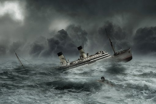 Fantasy, Storm, Ship, Setting, Drowning, Man, Composing