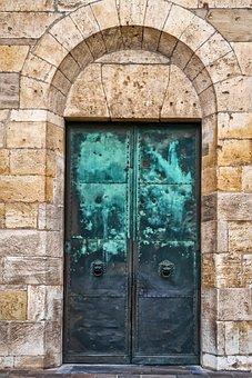 Door, Goal, Input, Metal, Copper, Patina, Round Arch