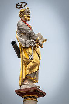 Holy, Halo, Statue, Book, Key, Golden, Religion