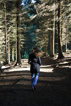 Forest, Woman, Femme, Rear, View, Running, Away, Pine