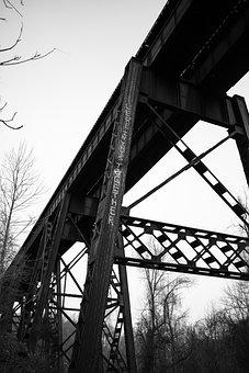 Bridge, Graffiti, Architecture, Urban, Steel, Train