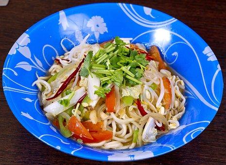 Food, Udon Noodles, Vegetables