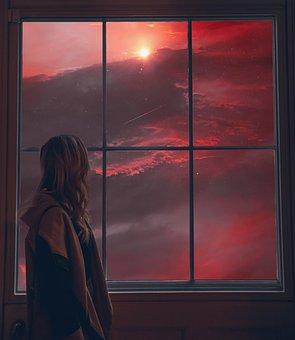 Sky, Sunset, Girls, View, Window, Cloud