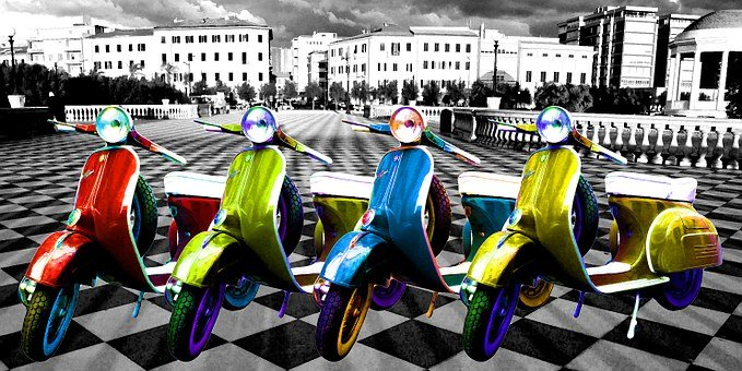Scooters, Bikes, Artwork, Motorcycle, Transportation