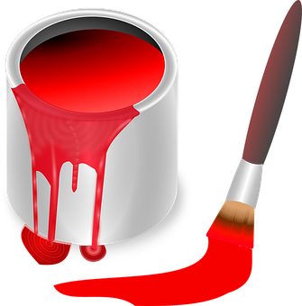 Bucket, Color, Red, Brush, Painting, Paint, Tool