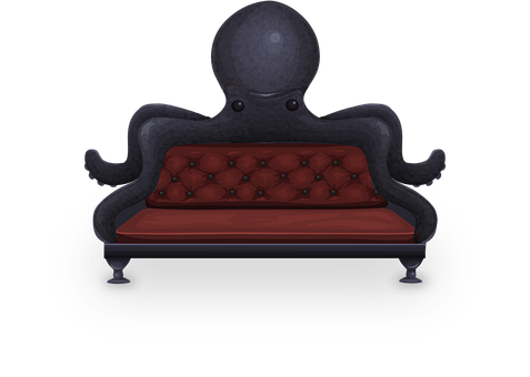 Couch, Sofa, Loveseat, Octopus, Red, Black, Seat