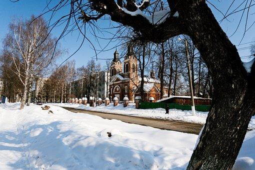 Winter, Landscape, Church, City, Kirov