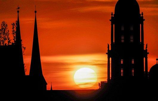 Sunset, City, Towers, Berlin, Cityscape