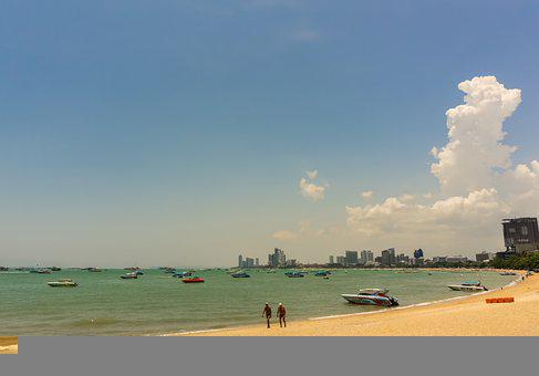Pattaya, Thailand, Asia, Beach, Sky, Cloud, Sand, View