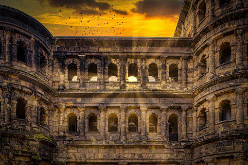 Porta Nigra, Trier, Sunshine, Atmosphere, Sunset