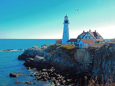 Portland Head, Lighthouse, Maine, Portland, Ocean