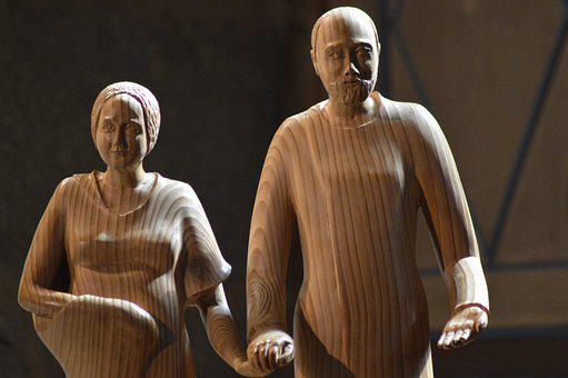 Statue, Wood, Couple, Family, Parents, Zélie, Louis