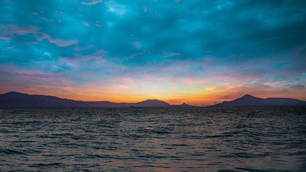 Landscape, Sea, Nature, Beach, Ocean, Sunset, Sky, Boat