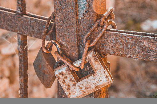 Castle, Metal, Rust, Rusty, Chain, Grid, Fence
