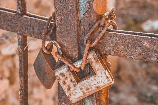 Castle, Metal, Rust, Rusty, Chain, Grid, Fence