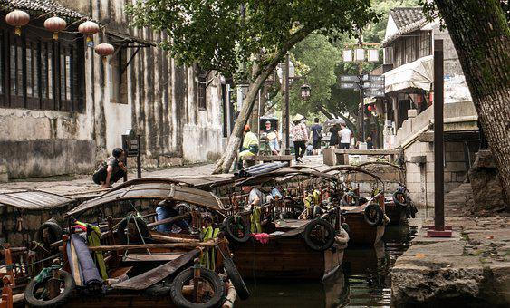 China, Tongli, Jiangsu, Suzhou, Water, Boat, Chinese