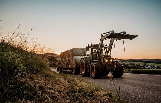 Tractor, Sun, Agriculture, Sky, Field, Landscape