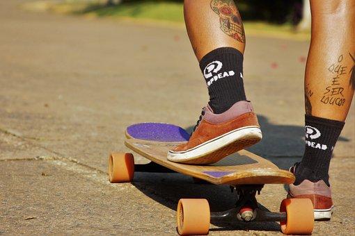 Skateboard, Model, Woman, Girl, Long