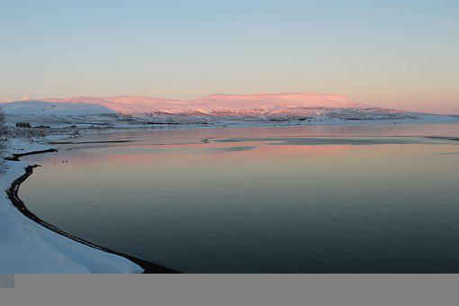 Iceland, Mountains, Snow, Sunset, Landscape, Lake, Sand