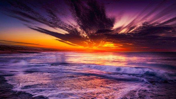 Landscape, Sea, Beach, Nature, Ocean, Sunset, Sky, Boat