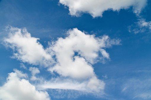 Cloudy Sky, Blue Sky, White Clouds, Air