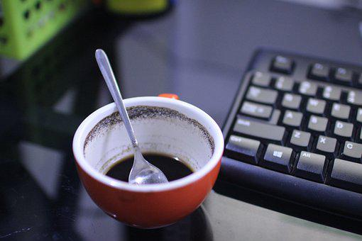 Empty Cup Of Coffee Beside Keyboard, Coffee, Work Desk