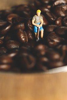 Figure, Miniature, Coffee, Working, Macro