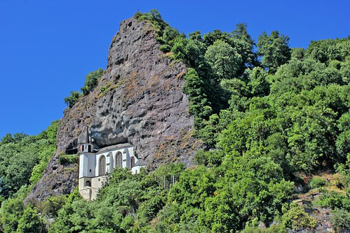 Idar-oberstein, Rock Church, Church, Mountain, Trees