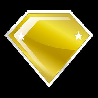 Diamond, Gold, Golden, Label, Emblem, Badge, Yellow