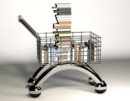 Shopping Cart, Books, Read, Metal