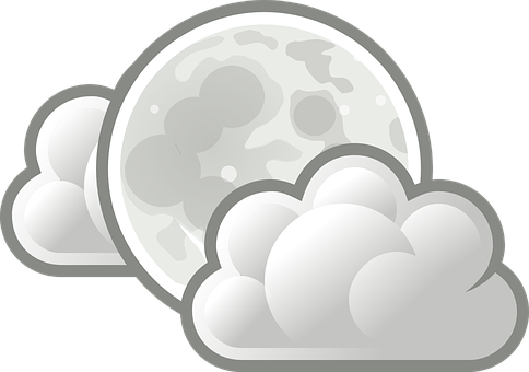 Moon, Full Moon, Cloudy, Clouds, Syzygy Day