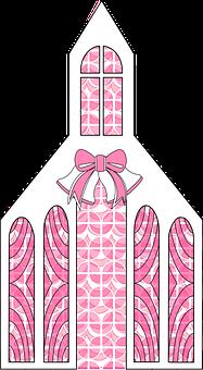 Graphic, Wedding Chapel, Valentine, Pink, White, Love