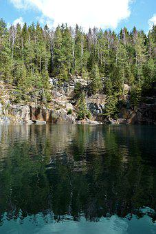 Quarry, Nature, Water, Sky, Reflection, Tree, Clouds