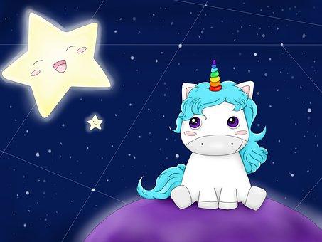 Unicorn, Galaxy, Fantasy, Star, Cosmic, Planet, Cute