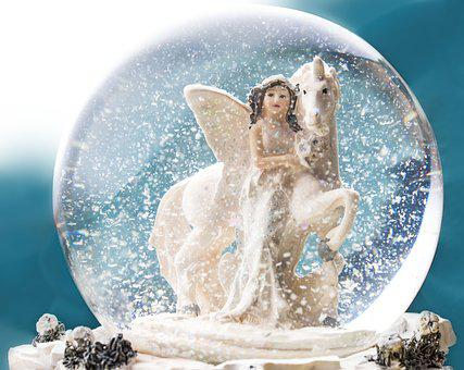 Snow Ball, Elf, Unicorn, Ball, Glass Ball, Snow, Horse