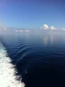 Mediterranean, Sea, Water, Blue, Boat, Wave, Cloud
